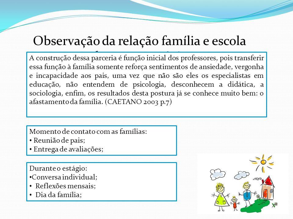 Observação da relação família e escola durante o estágio Momento de contato com as famílias: Reunião de pais; Entrega de avaliações; Durante o estágio