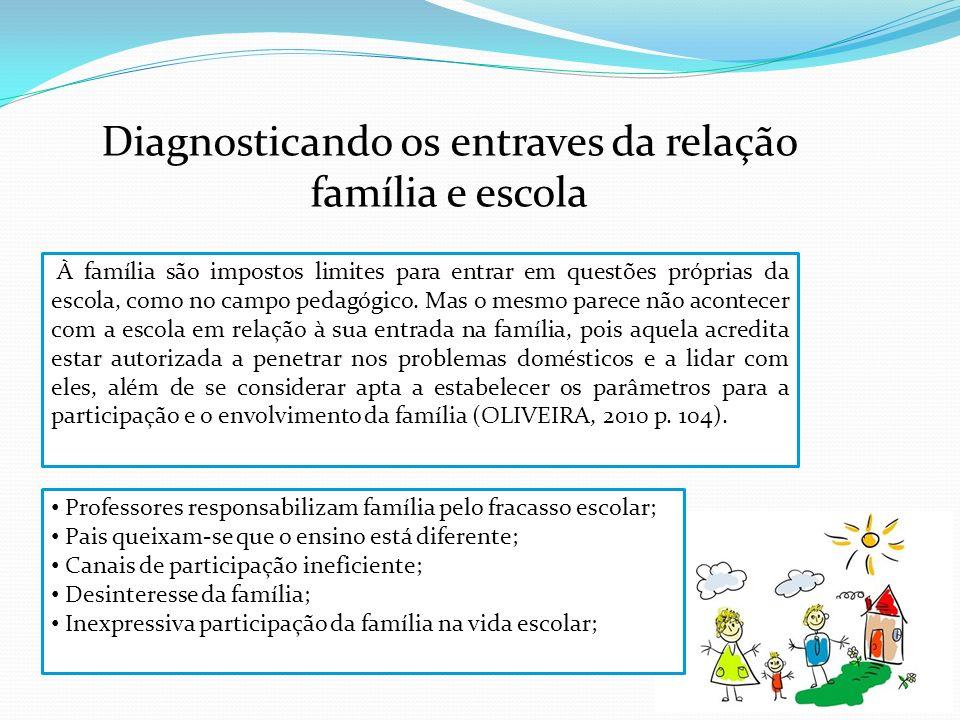 Diagnosticando os entraves da relação família e escola Professores responsabilizam família pelo fracasso escolar; Pais queixam-se que o ensino está di