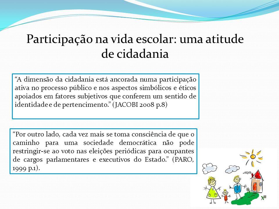 Participação na vida escolar: uma atitude de cidadania Por outro lado, cada vez mais se toma consciência de que o caminho para uma sociedade democráti