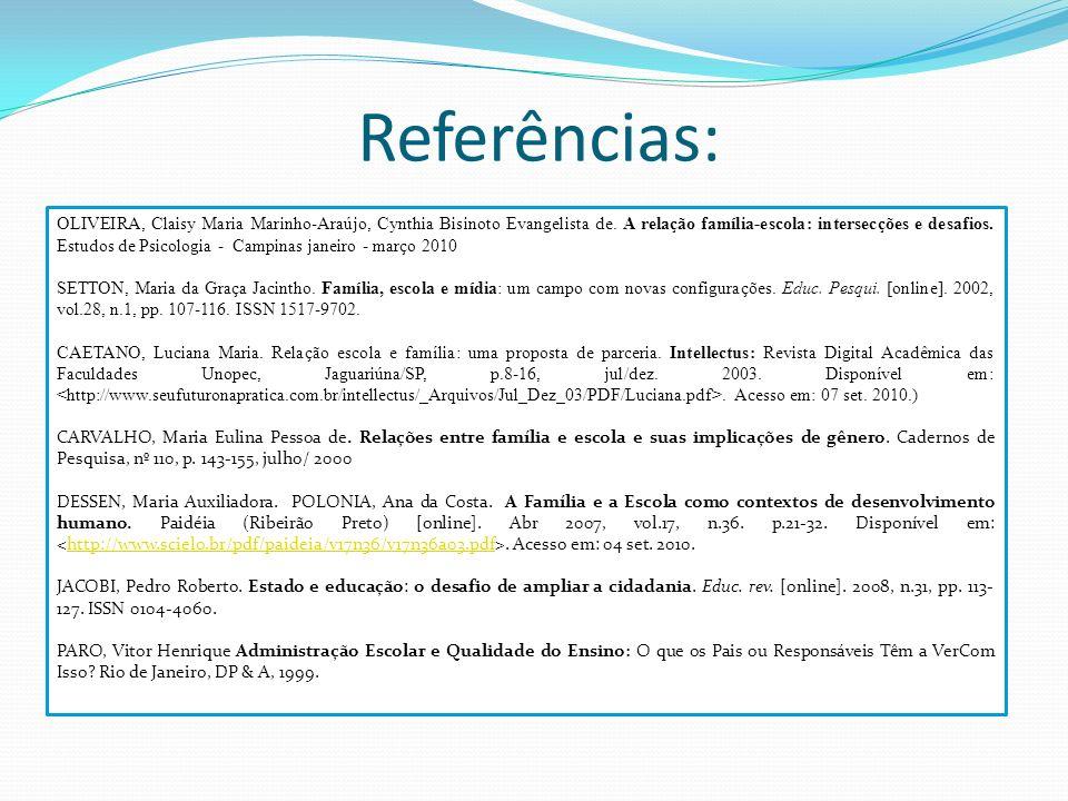 Referências: OLIVEIRA, Claisy Maria Marinho-Araújo, Cynthia Bisinoto Evangelista de. A relação família-escola: intersecções e desafios. Estudos de Psi