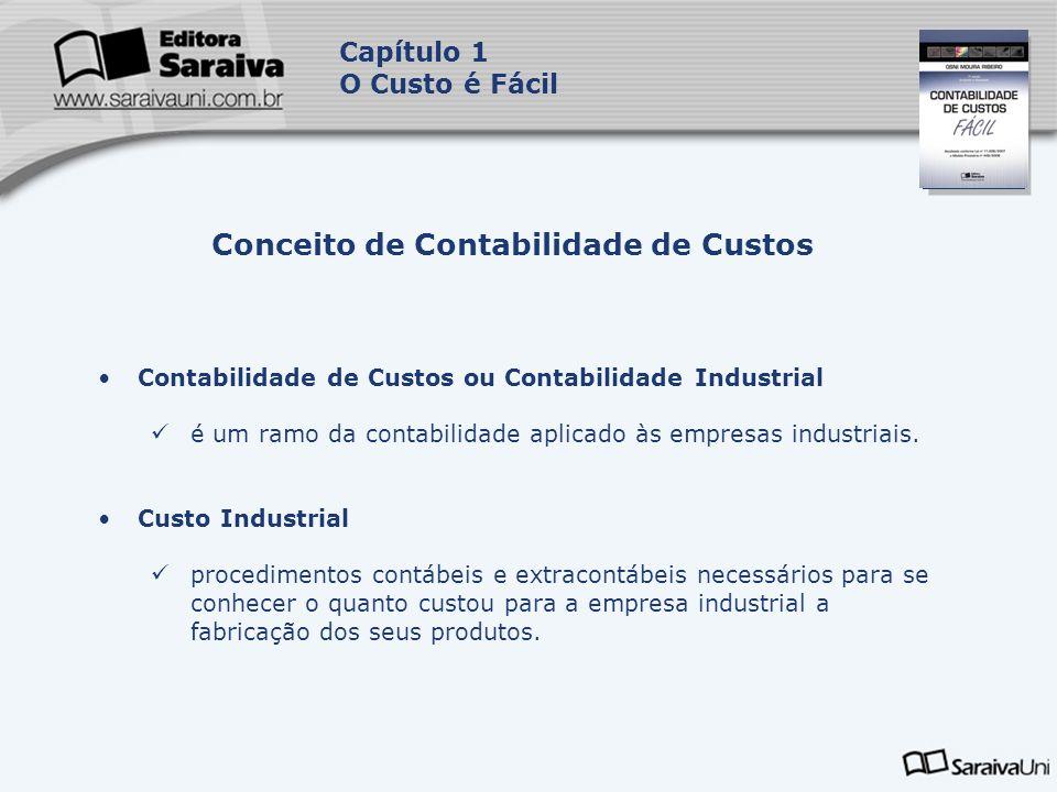 Capa da Obra Capítulo 1 O Custo é Fácil Contabilidade de Custos ou Contabilidade Industrial é um ramo da contabilidade aplicado às empresas industriai