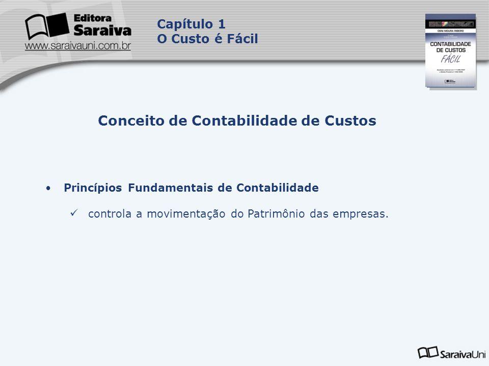 Capa da Obra Capítulo 1 O Custo é Fácil Princípios Fundamentais de Contabilidade controla a movimentação do Patrimônio das empresas. Conceito de Conta