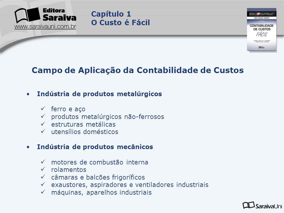 Capa da Obra Capítulo 1 O Custo é Fácil Indústria de produtos metalúrgicos ferro e aço produtos metalúrgicos não-ferrosos estruturas metálicas utensíl