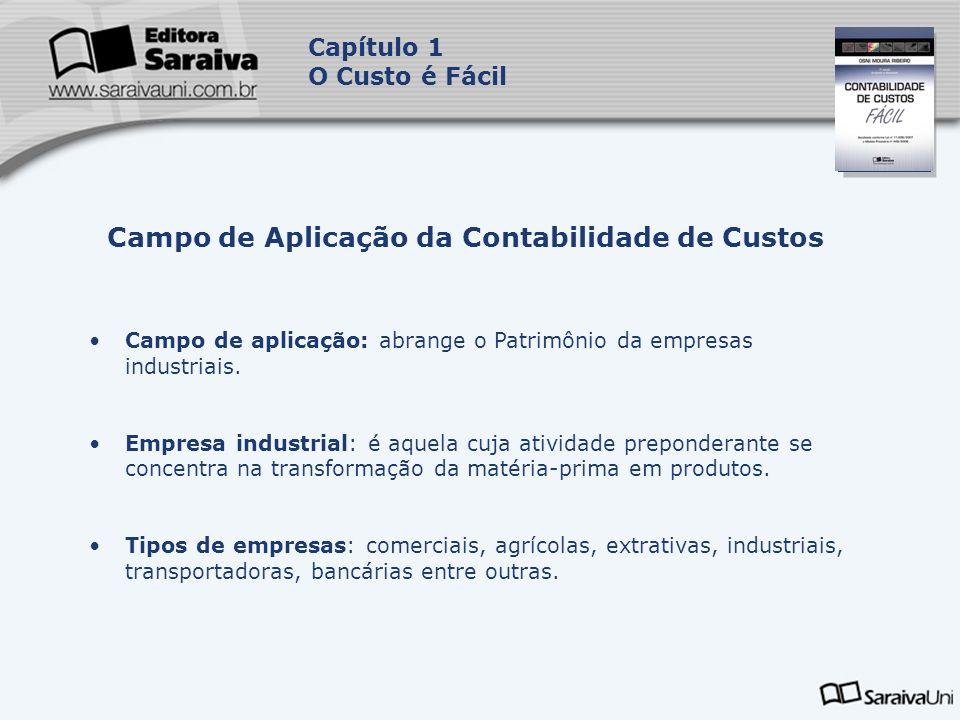 Capa da Obra Capítulo 1 O Custo é Fácil Campo de aplicação: abrange o Patrimônio da empresas industriais. Empresa industrial: é aquela cuja atividade