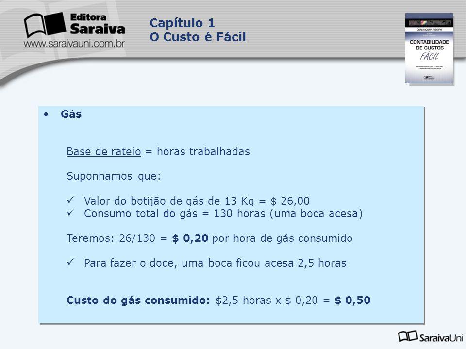 Capa da Obra Capítulo 1 O Custo é Fácil Gás Base de rateio = horas trabalhadas Suponhamos que: Valor do botijão de gás de 13 Kg = $ 26,00 Consumo tota