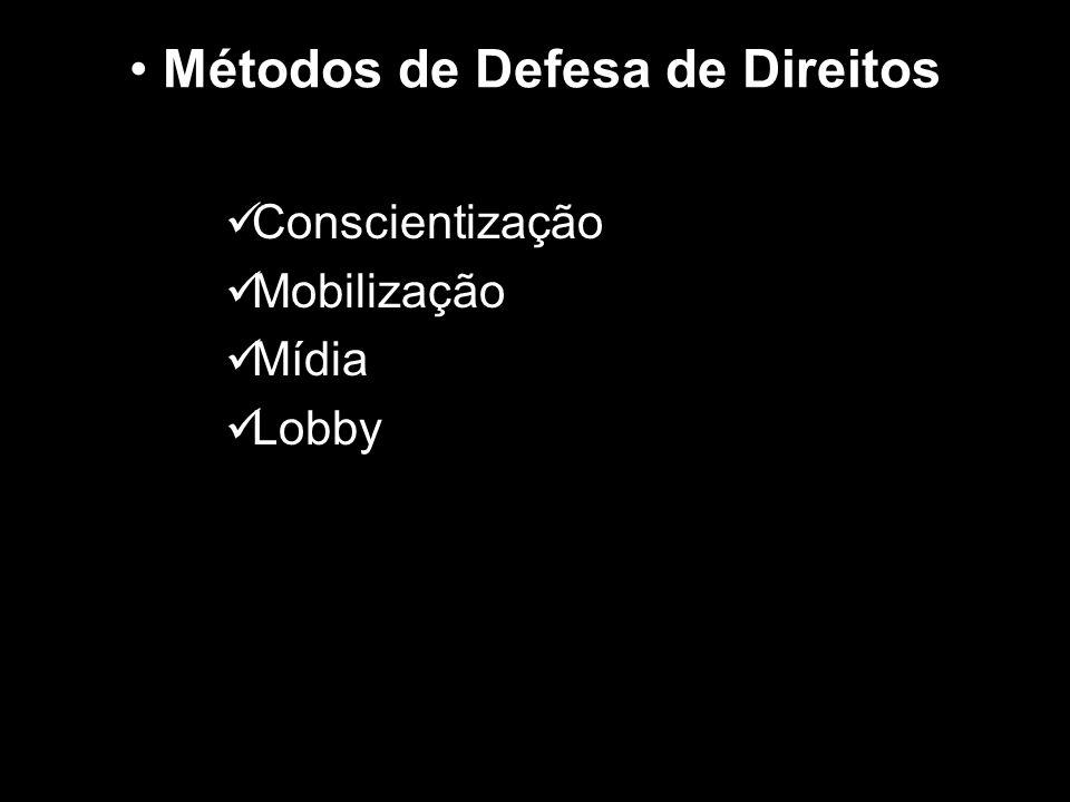 Métodos de Defesa de Direitos Conscientização Mobilização Mídia Lobby