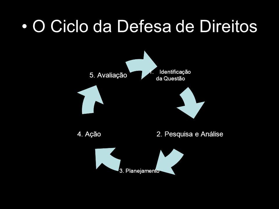 O Ciclo da Defesa de Direitos 1.Identificação da Questão 2. Pesquisa e Análise 3. Planejamento 4. Ação 5. Avaliação