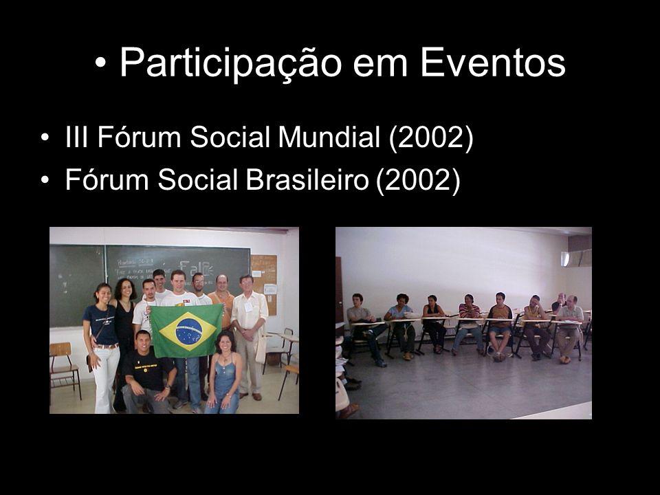 Participação em Eventos III Fórum Social Mundial (2002) Fórum Social Brasileiro (2002)