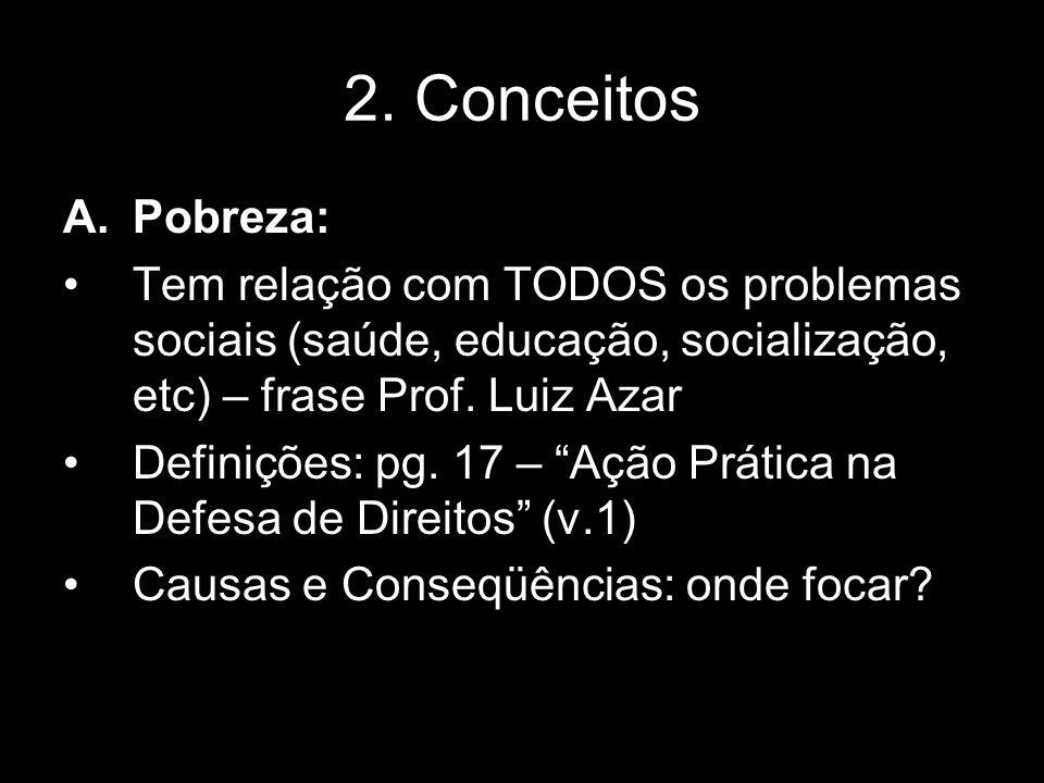 2. Conceitos A.Pobreza: Tem relação com TODOS os problemas sociais (saúde, educação, socialização, etc) – frase Prof. Luiz Azar Definições: pg. 17 – A