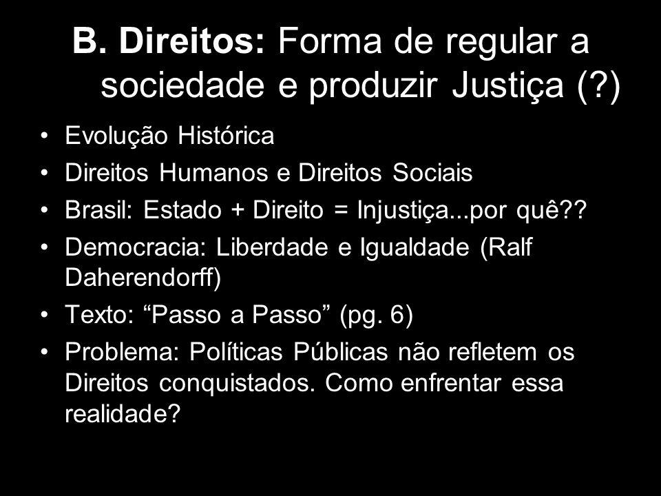 B. Direitos: Forma de regular a sociedade e produzir Justiça (?) Evolução Histórica Direitos Humanos e Direitos Sociais Brasil: Estado + Direito = Inj