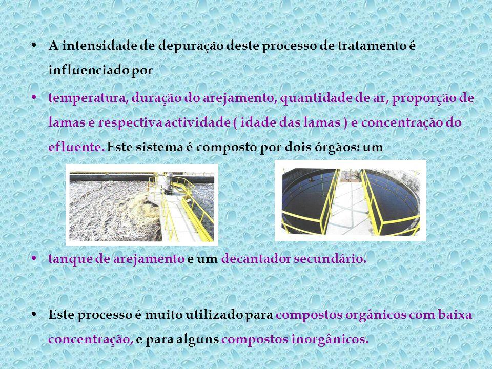 A intensidade de depuração deste processo de tratamento é influenciado por temperatura, duração do arejamento, quantidade de ar, proporção de lamas e