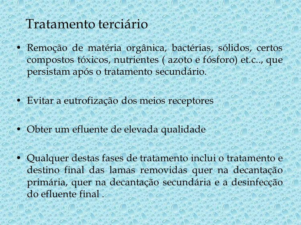 Tratamento terciário Remoção de matéria orgânica, bactérias, sólidos, certos compostos tóxicos, nutrientes ( azoto e fósforo) et.c.., que persistam ap