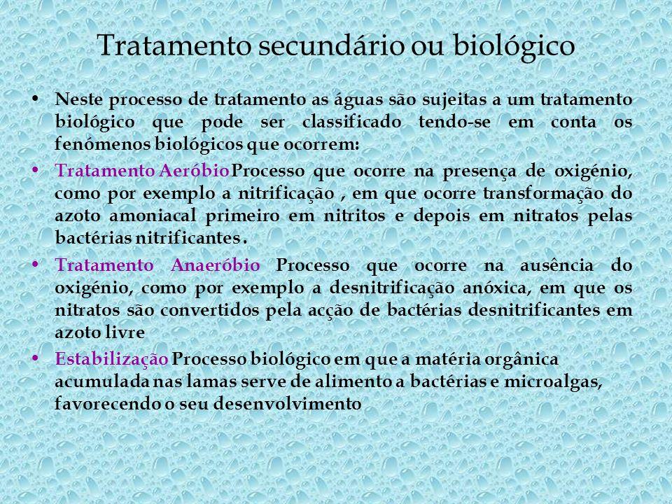 O tratamento biológico pode ocorrer em meio fixo - leitos percoladores ou em meio disperso ou suspenso - lamas activadas, lagoas arejadas.