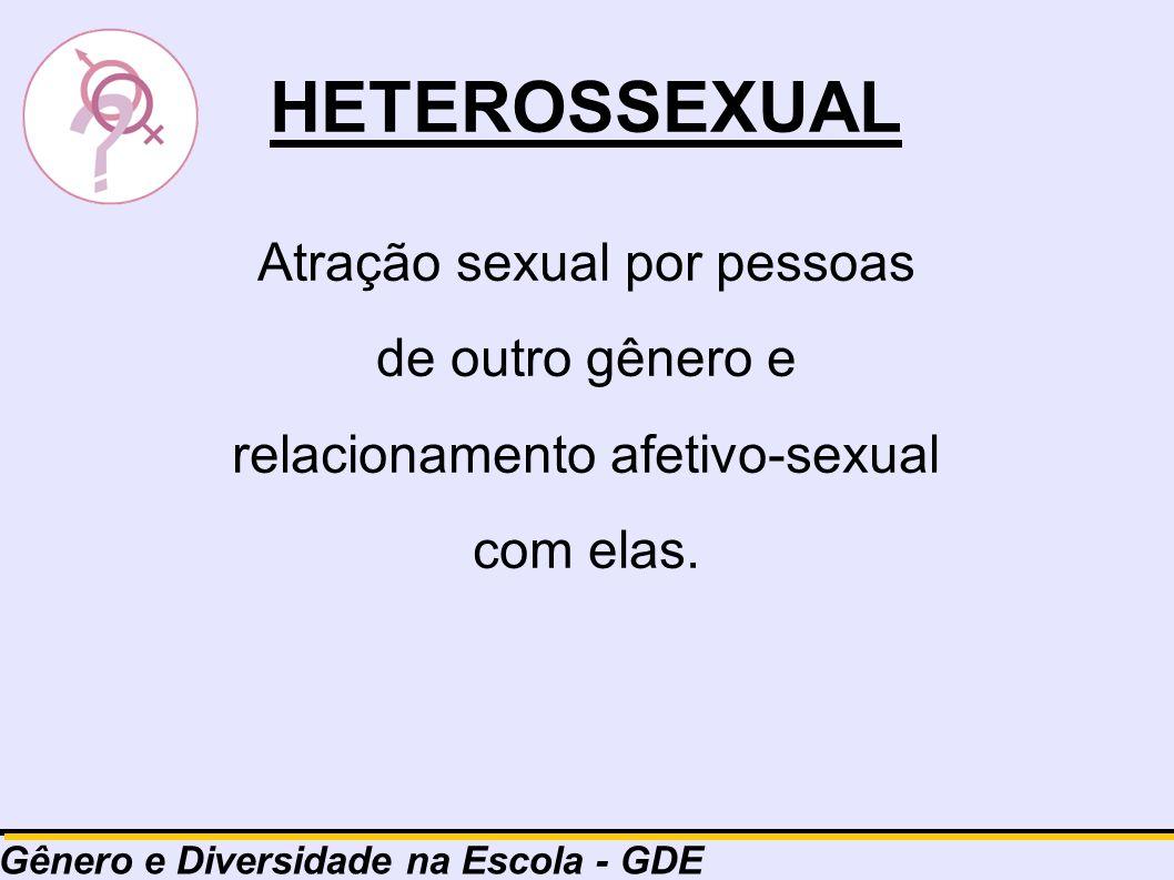HETEROSSEXUAL Atração sexual por pessoas de outro gênero e relacionamento afetivo-sexual com elas.