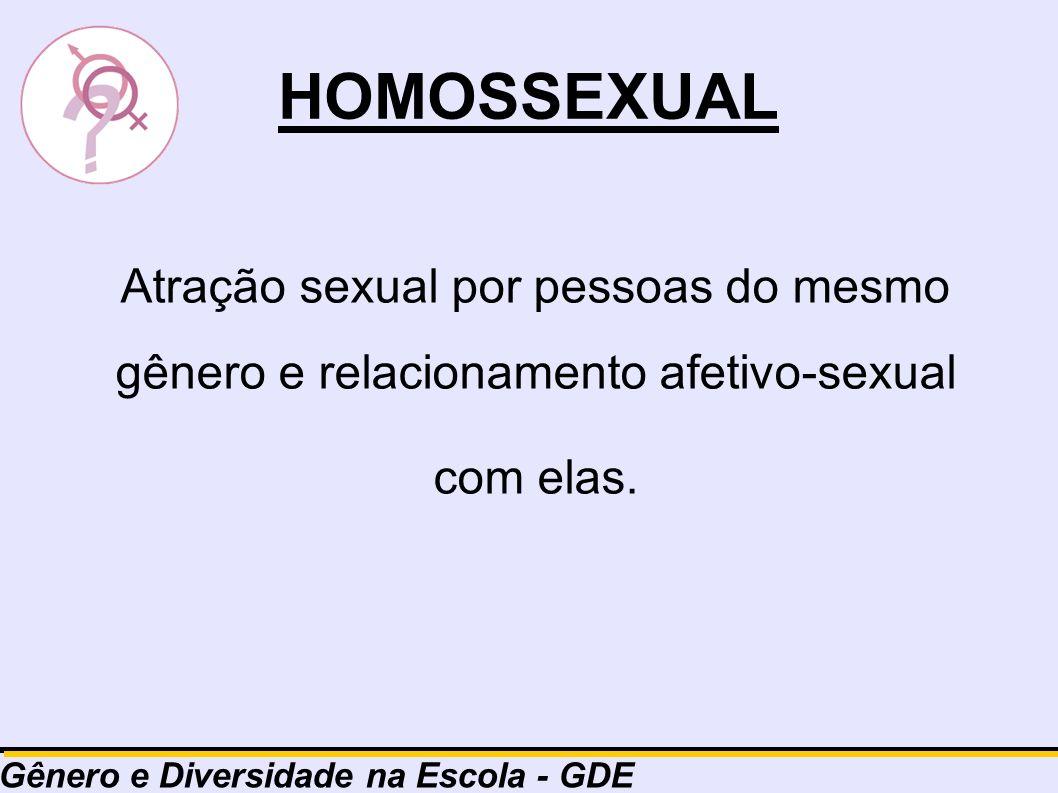 HOMOSSEXUAL Atração sexual por pessoas do mesmo gênero e relacionamento afetivo-sexual com elas. Gênero e Diversidade na Escola - GDE