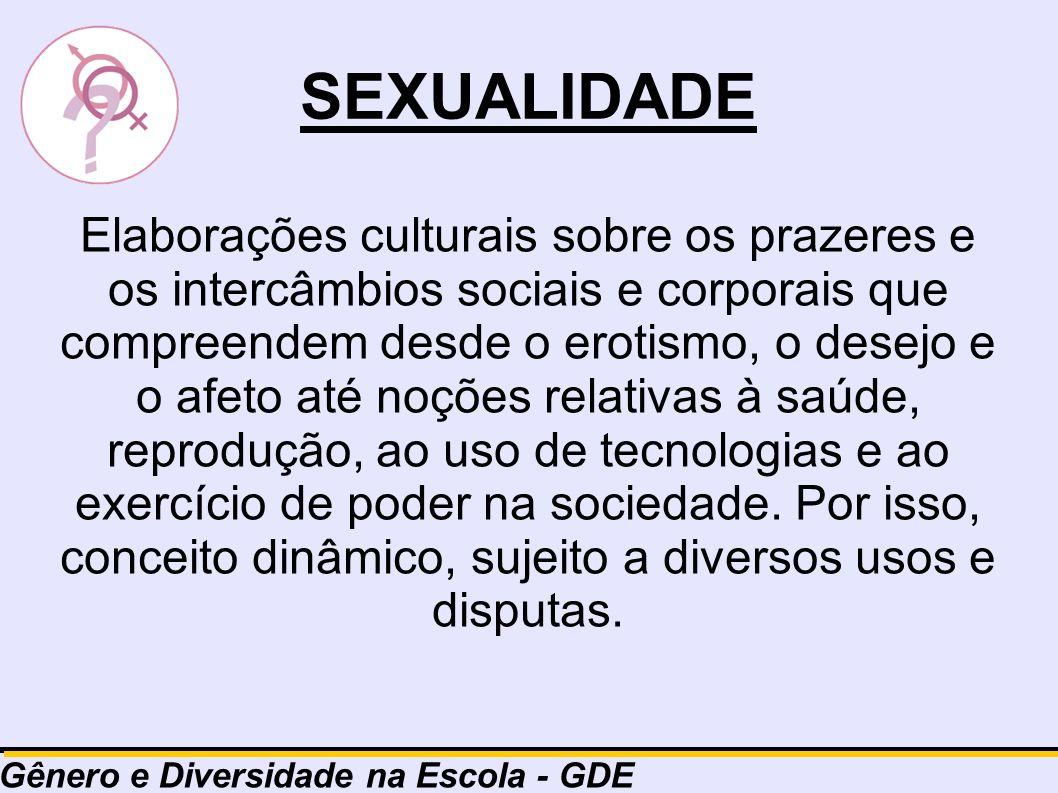 SEXUALIDADE Elaborações culturais sobre os prazeres e os intercâmbios sociais e corporais que compreendem desde o erotismo, o desejo e o afeto até noç