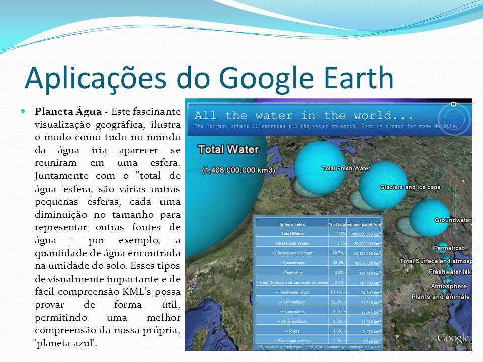 Aplicações do Google Earth Planeta Água - Este fascinante visualização geográfica, ilustra o modo como tudo no mundo da água iria aparecer se reuniram