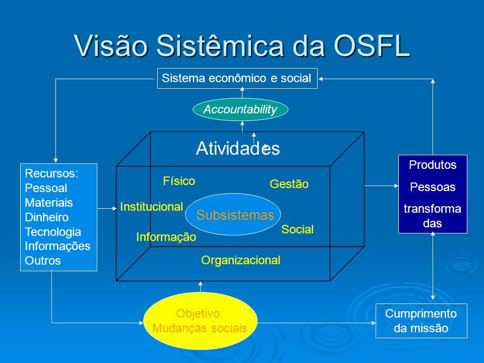 Visão Sistêmica da OSFL Atividades Subsistemas Físico Institucional Informação Social Organizacional Gestão Objetivo: Mudanças sociais Cumprimento da