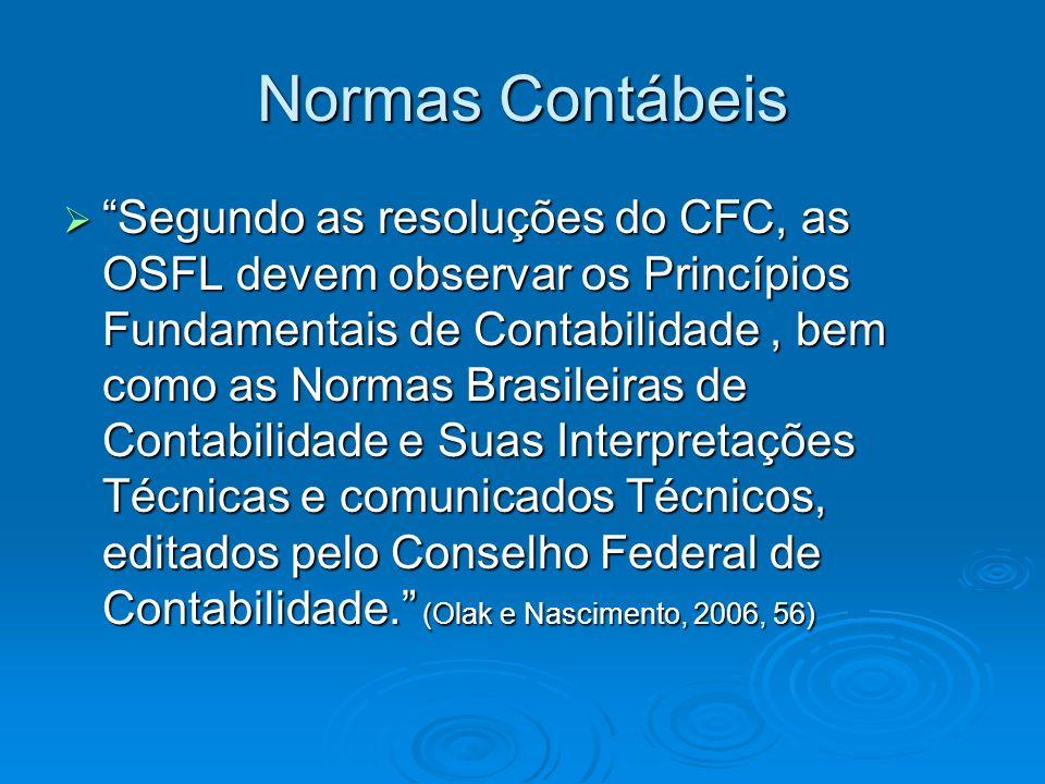 Normas Contábeis Segundo as resoluções do CFC, as OSFL devem observar os Princípios Fundamentais de Contabilidade, bem como as Normas Brasileiras de C