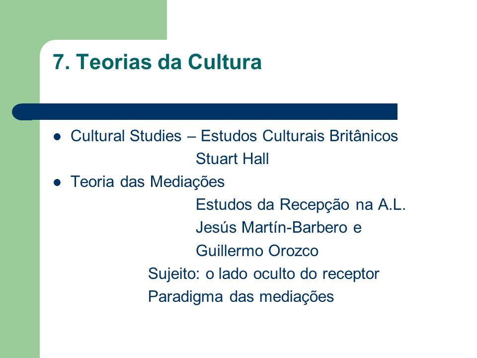 7. Teorias da Cultura Cultural Studies – Estudos Culturais Britânicos Stuart Hall Teoria das Mediações Estudos da Recepção na A.L. Jesús Martín-Barber