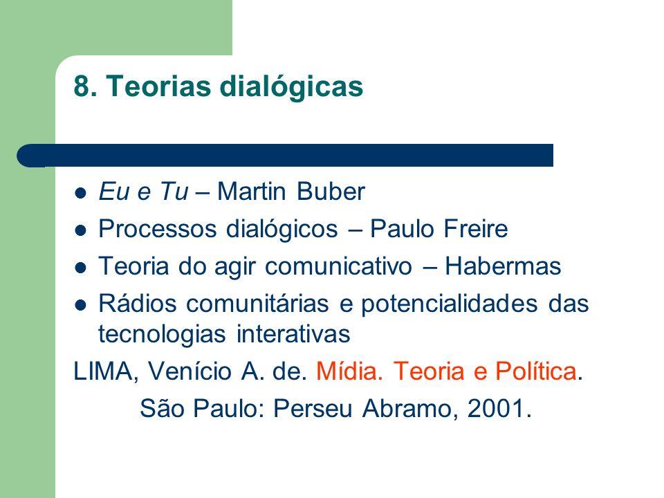 8. Teorias dialógicas Eu e Tu – Martin Buber Processos dialógicos – Paulo Freire Teoria do agir comunicativo – Habermas Rádios comunitárias e potencia