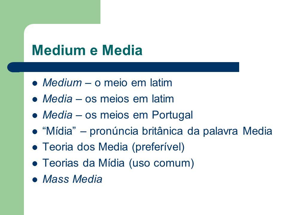 Medium e Media Medium – o meio em latim Media – os meios em latim Media – os meios em Portugal Mídia – pronúncia britânica da palavra Media Teoria dos