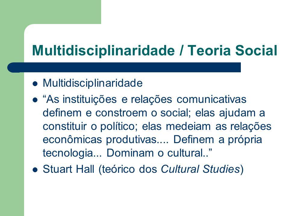 Multidisciplinaridade / Teoria Social Multidisciplinaridade As instituições e relações comunicativas definem e constroem o social; elas ajudam a const