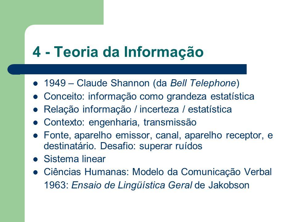 4 - Teoria da Informação 1949 – Claude Shannon (da Bell Telephone) Conceito: informação como grandeza estatística Relação informação / incerteza / est