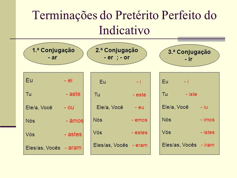 Terminações do Pretérito Perfeito do Indicativo 1.ª Conjugação - ar 2.ª Conjugação - er ; - or 3.ª Conjugação - ir Eu - ei Tu - aste Ele/a, Você - ou