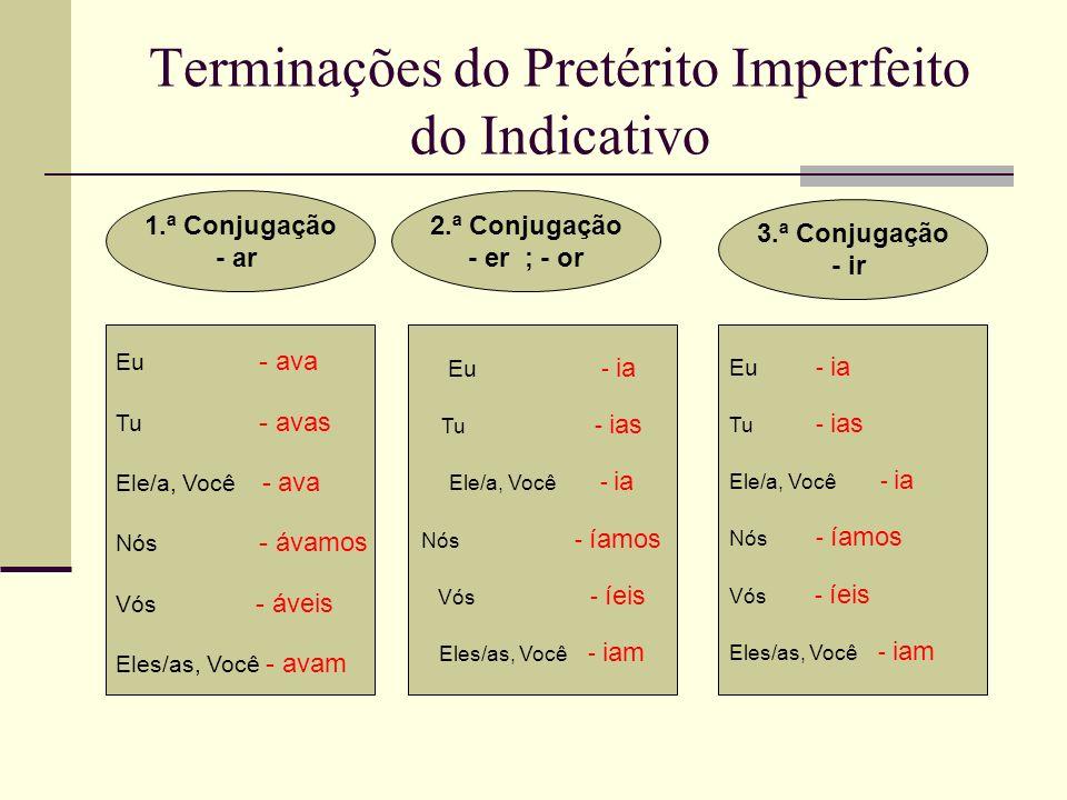 Terminações do Pretérito Imperfeito do Indicativo 1.ª Conjugação - ar 2.ª Conjugação - er ; - or 3.ª Conjugação - ir Eu - ava Tu - avas Ele/a, Você -