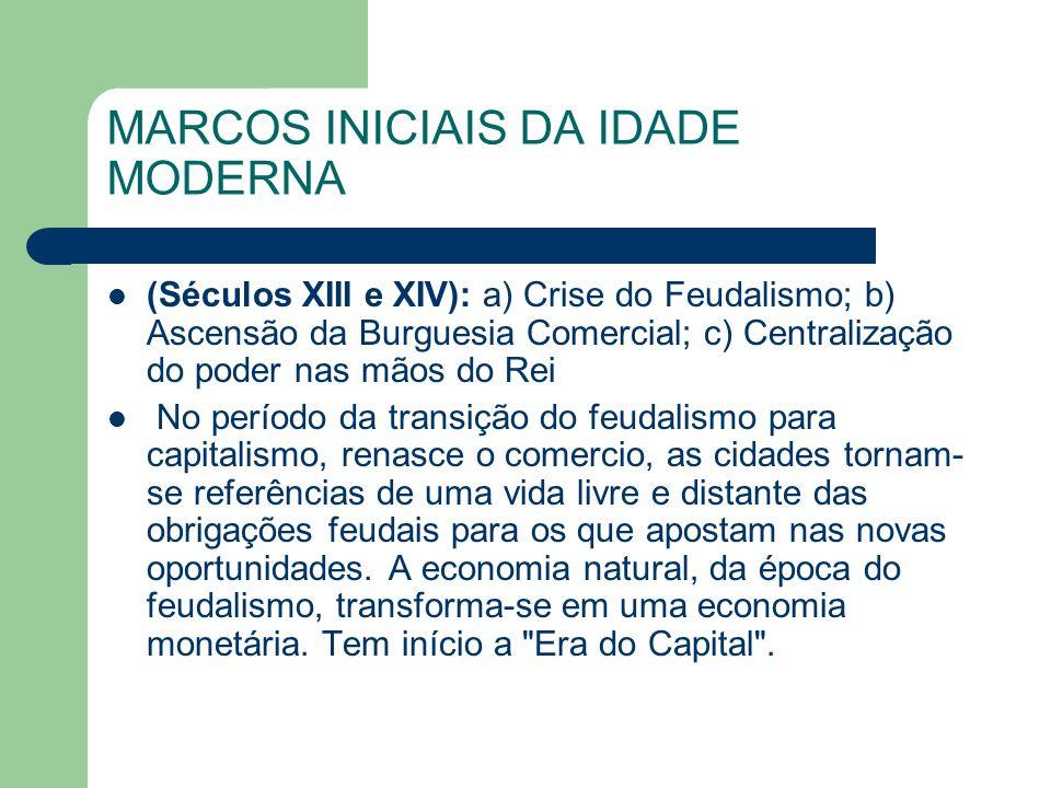 MARCOS INICIAIS DA IDADE MODERNA (Séculos XIII e XIV): a) Crise do Feudalismo; b) Ascensão da Burguesia Comercial; c) Centralização do poder nas mãos