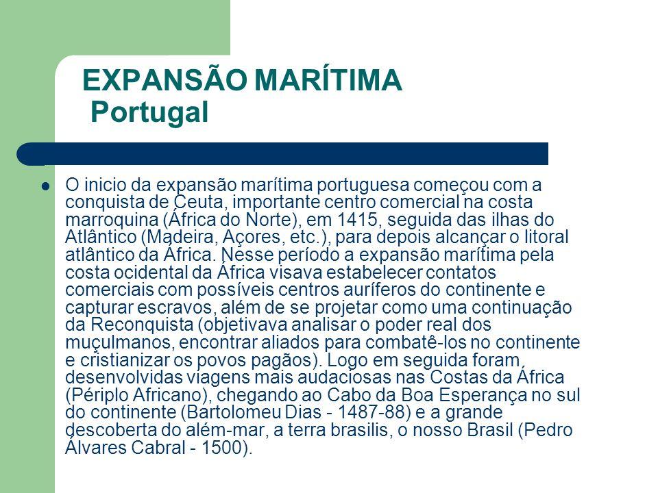 EXPANSÃO MARÍTIMA Portugal O inicio da expansão marítima portuguesa começou com a conquista de Ceuta, importante centro comercial na costa marroquina (África do Norte), em 1415, seguida das ilhas do Atlântico (Madeira, Açores, etc.), para depois alcançar o litoral atlântico da África.