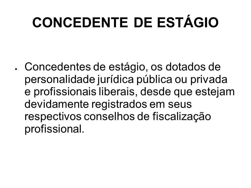 CONCEDENTE DE ESTÁGIO Concedentes de estágio, os dotados de personalidade jurídica pública ou privada e profissionais liberais, desde que estejam devi
