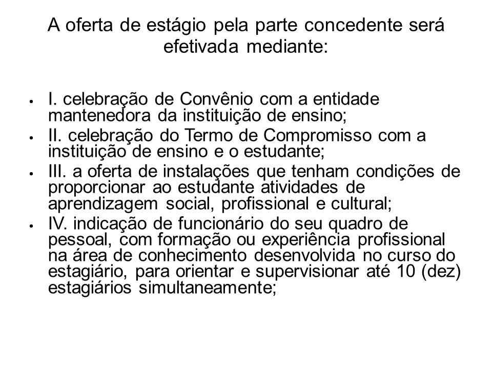 A oferta de estágio pela parte concedente será efetivada mediante: I. celebração de Convênio com a entidade mantenedora da instituição de ensino; II.
