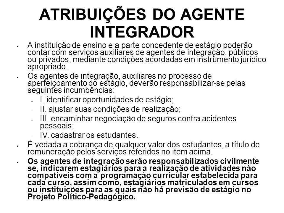 ATRIBUIÇÕES DO AGENTE INTEGRADOR A instituição de ensino e a parte concedente de estágio poderão contar com serviços auxiliares de agentes de integraç