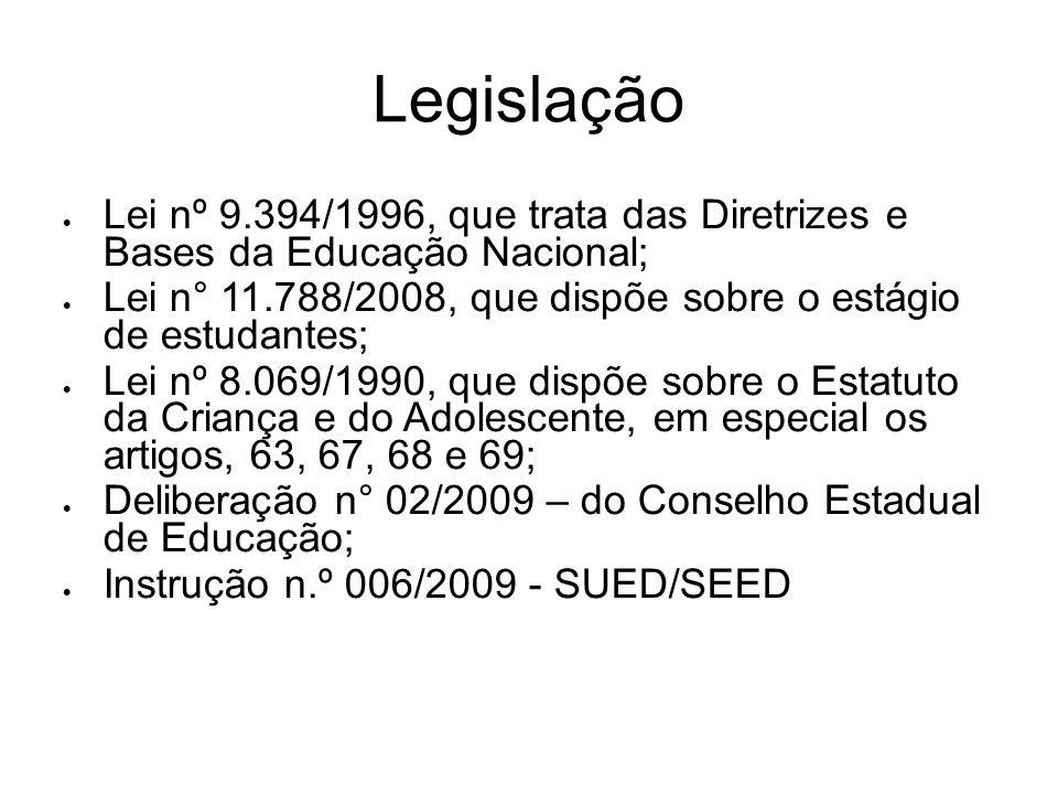 Legislação Lei nº 9.394/1996, que trata das Diretrizes e Bases da Educação Nacional; Lei n° 11.788/2008, que dispõe sobre o estágio de estudantes; Lei