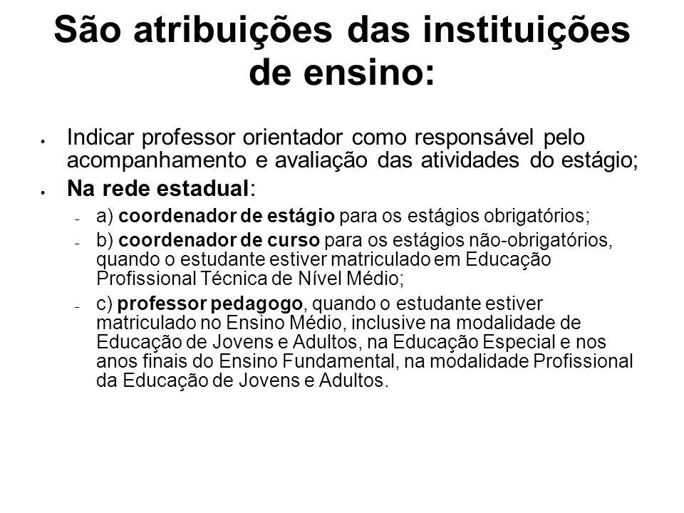 São atribuições das instituições de ensino: Indicar professor orientador como responsável pelo acompanhamento e avaliação das atividades do estágio; N