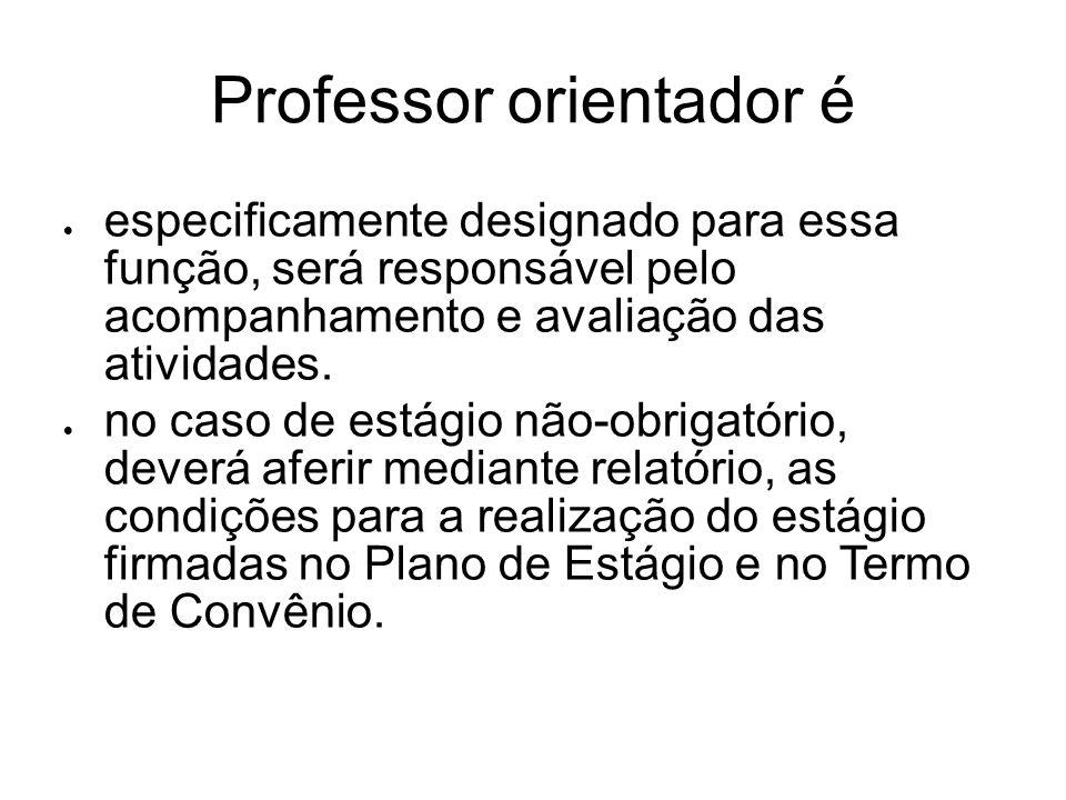Professor orientador é especificamente designado para essa função, será responsável pelo acompanhamento e avaliação das atividades. no caso de estágio