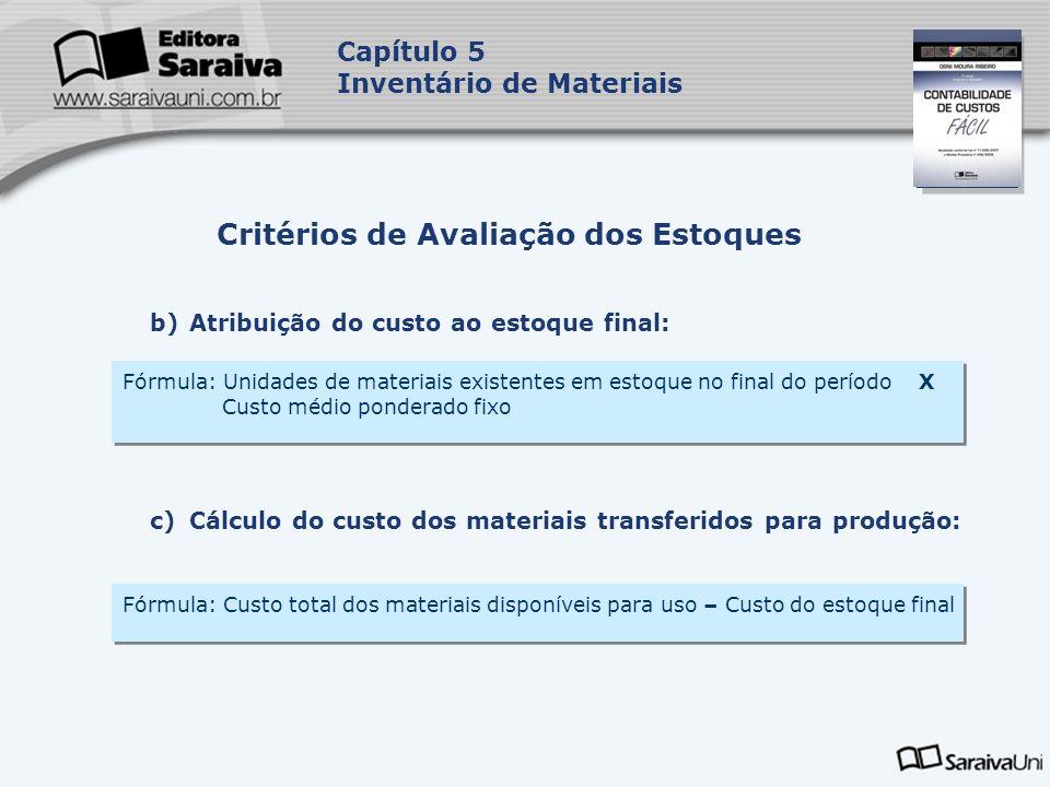 Capa da Obra Capítulo 5 Inventário de Materiais b)Atribuição do custo ao estoque final: Critérios de Avaliação dos Estoques Fórmula: Unidades de mater