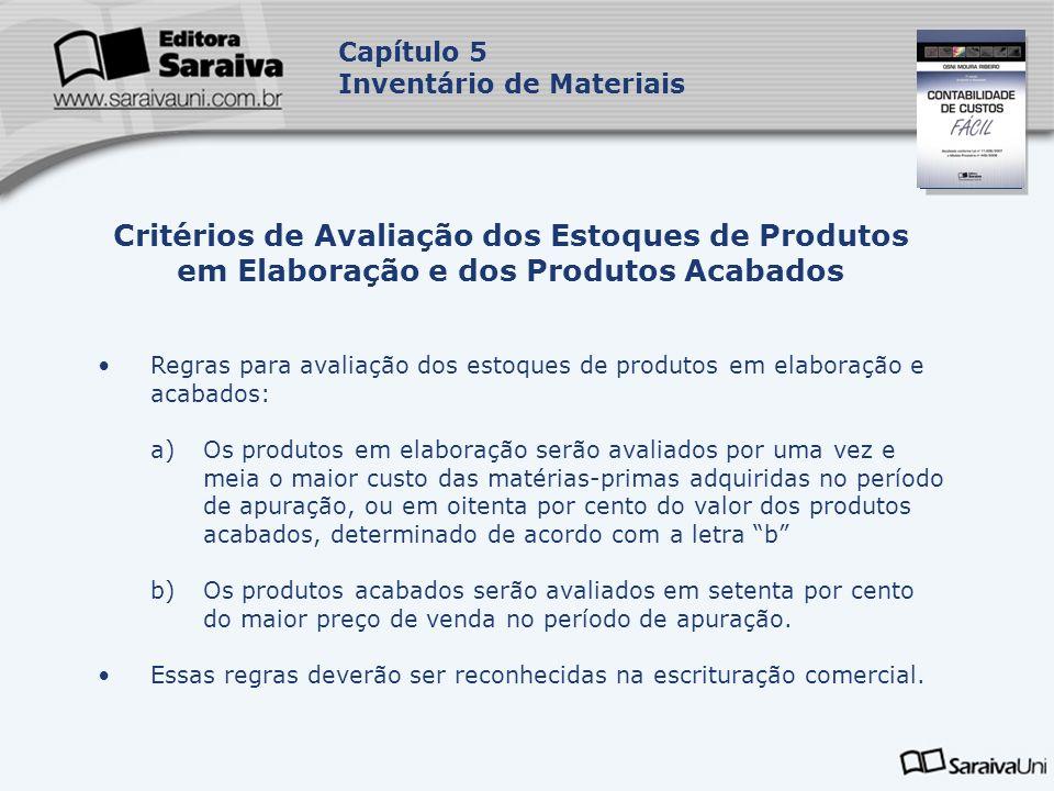 Capa da Obra Capítulo 5 Inventário de Materiais Regras para avaliação dos estoques de produtos em elaboração e acabados: a)Os produtos em elaboração s