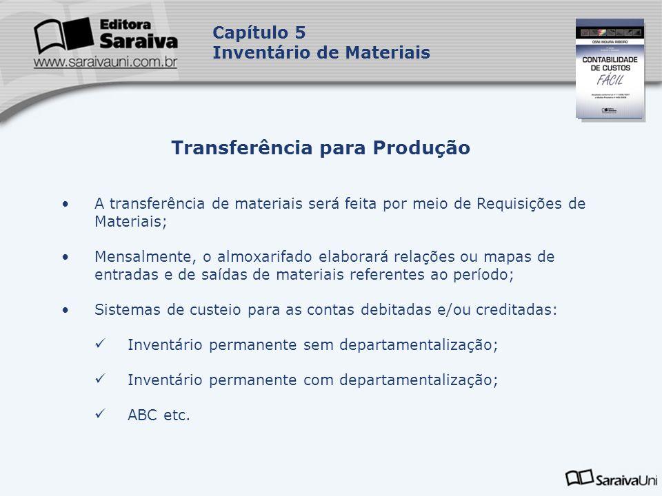 Capa da Obra Capítulo 5 Inventário de Materiais A transferência de materiais será feita por meio de Requisições de Materiais; Mensalmente, o almoxarif