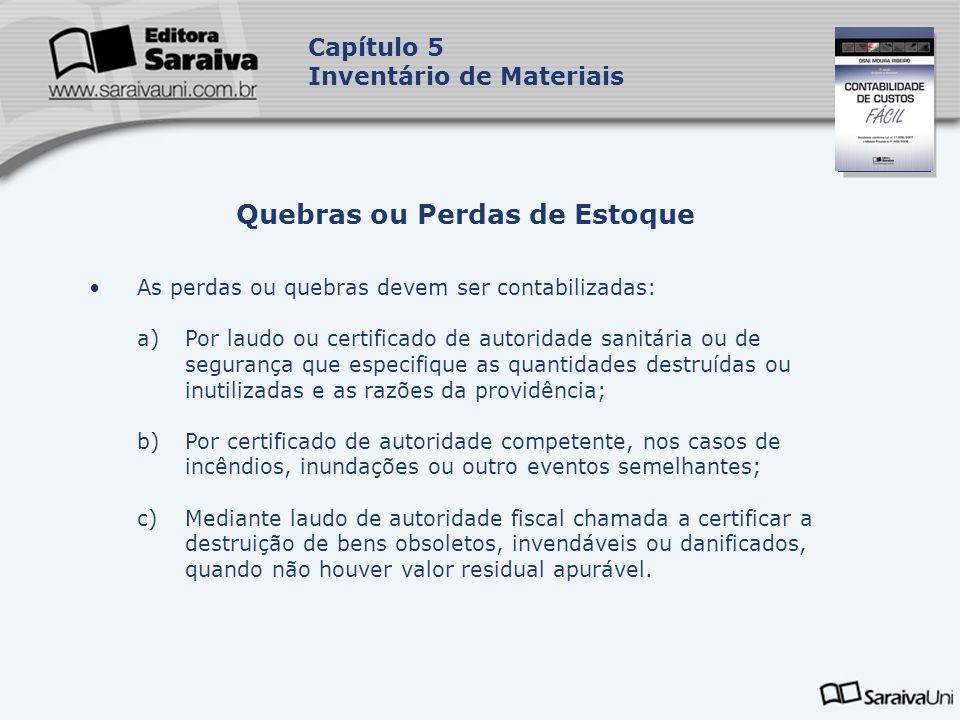 Capa da Obra Capítulo 5 Inventário de Materiais As perdas ou quebras devem ser contabilizadas: a)Por laudo ou certificado de autoridade sanitária ou d