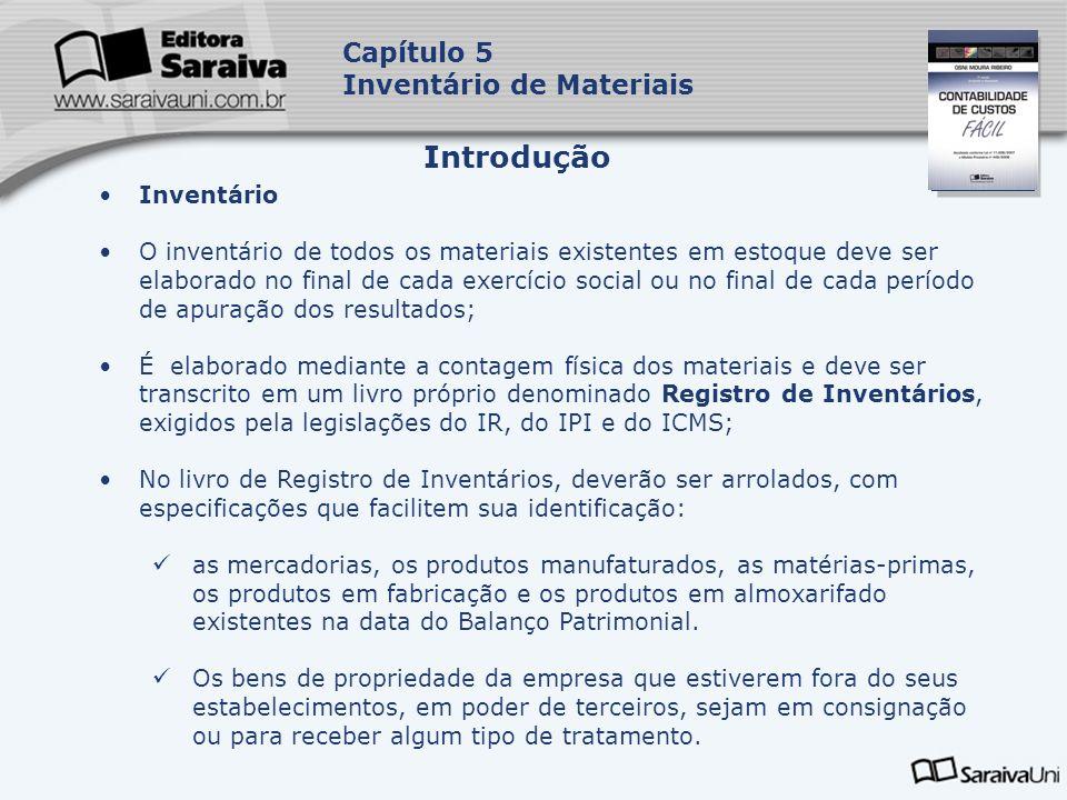 Capa da Obra Capítulo 5 Inventário de Materiais Inventário O inventário de todos os materiais existentes em estoque deve ser elaborado no final de cad