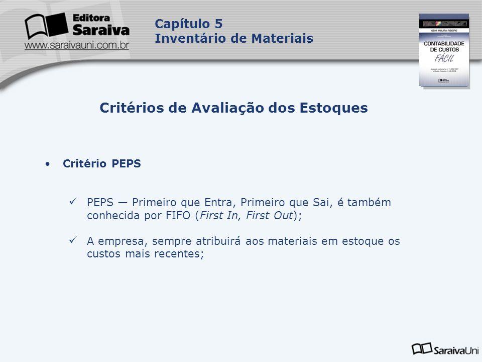 Capa da Obra Capítulo 5 Inventário de Materiais Critério PEPS PEPS Primeiro que Entra, Primeiro que Sai, é também conhecida por FIFO (First In, First