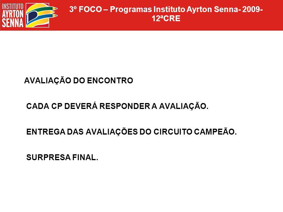 3º FOCO – Programas Instituto Ayrton Senna- 2009- 12ªCRE AVALIAÇÃO DO ENCONTRO CADA CP DEVERÁ RESPONDER A AVALIAÇÃO. ENTREGA DAS AVALIAÇÕES DO CIRCUIT