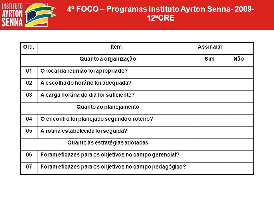 4º FOCO – Programas Instituto Ayrton Senna- 2009- 12ªCRE Ord.ItemAssinalar Quanto à organizaçãoSimNão 01O local da reunião foi apropriado? 02A escolha
