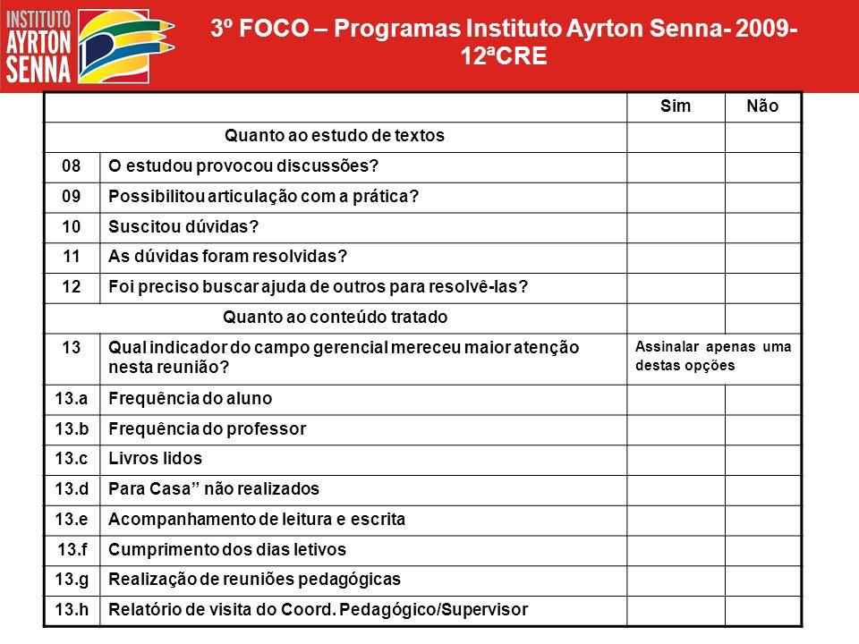 3º FOCO – Programas Instituto Ayrton Senna- 2009- 12ªCRE SimNão Quanto ao estudo de textos 08O estudou provocou discussões? 09Possibilitou articulação