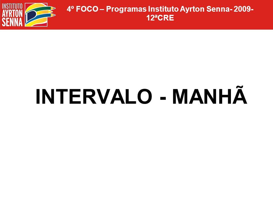 4º FOCO – Programas Instituto Ayrton Senna- 2009- 12ªCRE Tarefa de casa: 1)Recolher as sínteses escritas do segundo encontro 2)Sempre: realização de uma síntese escrita para o próximo encontro.