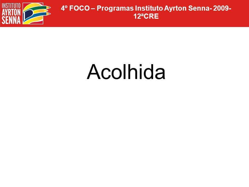 4º FOCO – Programas Instituto Ayrton Senna- 2009- 12ªCRE TARDE: OFICINA DE MATEMÁTICA Oficineiras: Maria Helena e Fátima