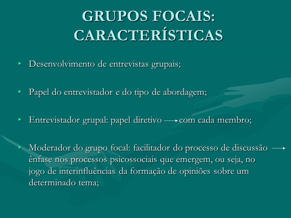 GRUPOS FOCAIS: CARACTERÍSTICAS Desenvolvimento de entrevistas grupais;Desenvolvimento de entrevistas grupais; Papel do entrevistador e do tipo de abor